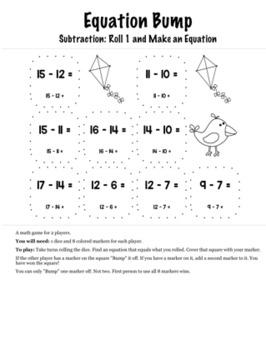 Spring Math Kindergarten Bump Games Bundle