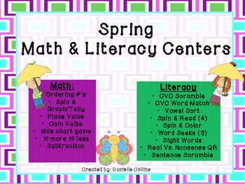 Spring Math & Literacy Centers ( Differentiated Activities)