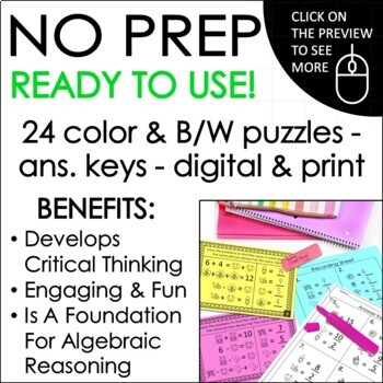 Solve For The Unknown Math Logic Puzzles: Missing Addends
