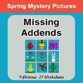 Spring Math: Missing Addends - Color-By-Number Math Mystery Pictures