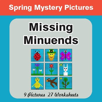 Spring Math: Missing Minuends - Color-By-Number Math Mystery Pictures