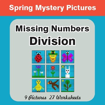 Spring Math: Missing Numbers Division - Color-By-Number Math Mystery Pictures