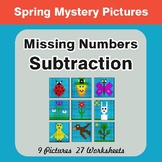 Spring Math: Missing Numbers Subtraction - Color-By-Number