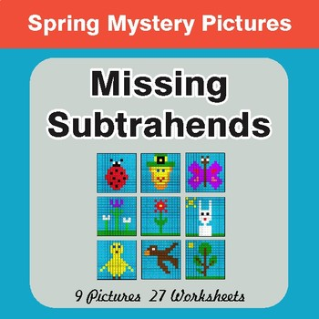 Spring Math: Missing Subtrahends - Color-By-Number Math Mystery Pictures
