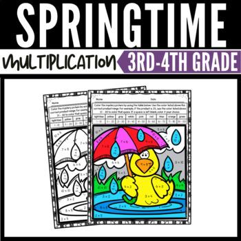 Spring Math Multiplication Color by Number Worksheets ...