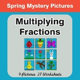 Spring Math: Multiplying Fractions - Color-By-Number Myste