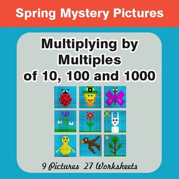 Spring Math: Multipying by 10, 100, 1000 - Mystery Pictures