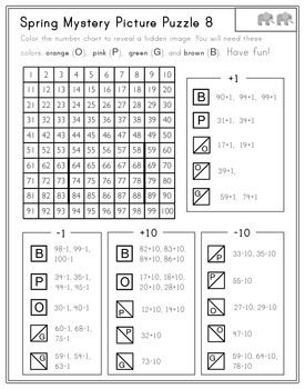Spring Hundreds Chart Mystery Pictures - Place Value, Add, Subtract