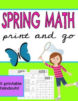 Spring Math ~ No Prep Print & Go Math Handouts ~ March ~ April ~ Easter Math