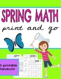 Spring Math ~ No Prep Print & Go Math Handouts ~ March ~ A