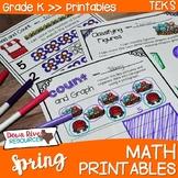 Kindergarten Spring Math No Prep Printables {TEKS/CCSS}