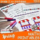 Second Grade Spring Math No Prep Printables {TEKS/CCSS}