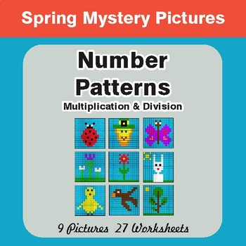 Spring Math: Number Patterns: Multiplication & Division - Math Mystery Pictures