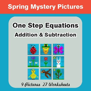 Spring Math: One-Step Equations (Addition & Subtraction) - Math Mystery Pictures