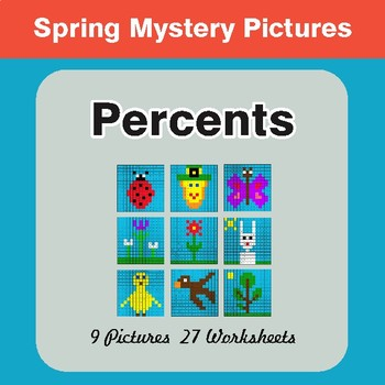Spring Math: Percents - Math Mystery Pictures