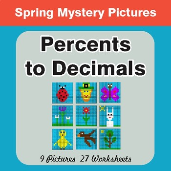 Spring Math: Percents to Decimals - Mystery Pictures