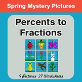 Spring Math: Percents to Fractions - Color-By-Number Myste