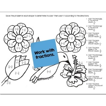 May Flowers Math Practice Color by Number Grades 5-8