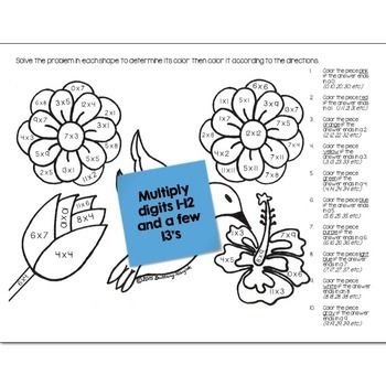 May Flowers Math Practice Color by Number Grades K-4 Bundle