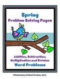 Spring Math Problem Solving Sheets - Word Problems