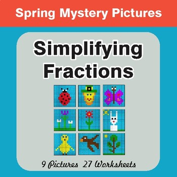 Spring Math: Simplifying Fractions - Color-By-Number Math Mystery Pictures