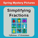 Spring Math: Simplifying Fractions - Color-By-Number Myste