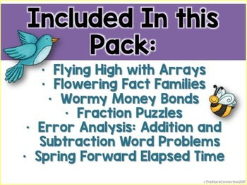 Spring Math- Fractions, Fact Families, Elapsed Time, Error Analysis, Money Bonds