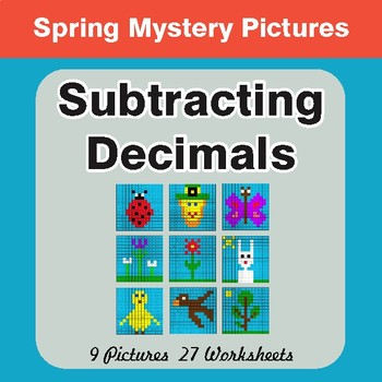 Spring Math: Subtracting Decimals - Math Mystery Pictures