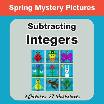 Spring Math: Subtracting Integers - Mystery Pictures
