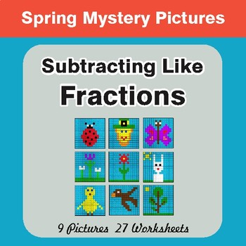Spring Math: Subtracting Like Fractions - Color-By-Number Math Mystery Pictures