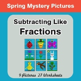 Spring Math: Subtracting Like Fractions - Color-By-Number
