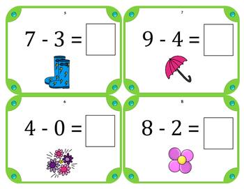 Spring Math Subtraction Task Cards (Set of 28) Grades K-2