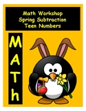 Spring Math Teen Numbers Subtraction File Folder Game