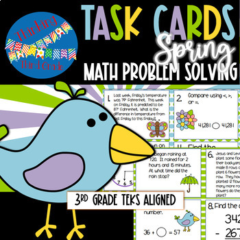 Spring Math Task Cards SCOOT 3rd 4th grade TEKS CCSS aligned