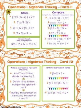 Math Test Prep Task Cards