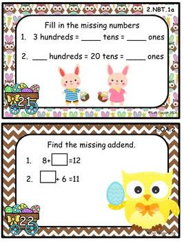 Spring Math Task Cards with QR Codes