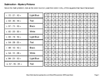 Spring Math: Three 2-Digit Subtraction - Mystery Pictures