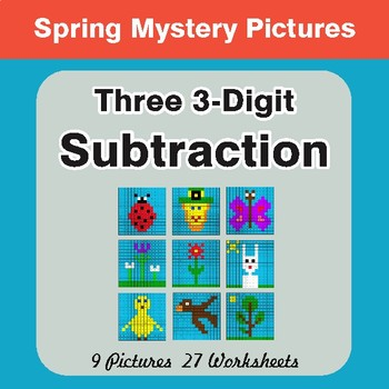 Spring Math: Three 3-Digit Subtraction - Math Mystery Pictures