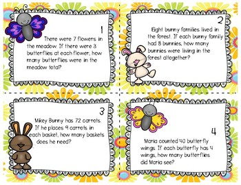 Spring Math Word Problem Task Cards (3rd grade)