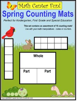 Spring Math Work Mats for Kindergarten & First Grade