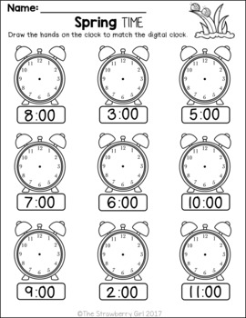 Kindergarten Math Worksheets - Spring by The Strawberry ...