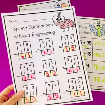 Spring Math Worksheets Addition and Subtraction (with and without Regrouping)