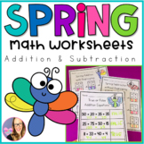 Spring Math Worksheets Addition and Subtraction (with and