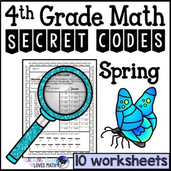 Spring Math Worksheets Secret Codes 4th Grade by Teaching Buddy ...
