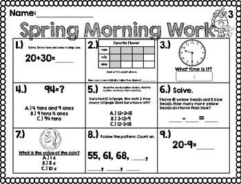 Spring Math and ELA Morning Work