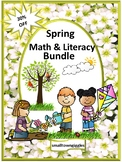 Spring Math and Literacy Activities Bundle, File Folder Games Cut and Paste
