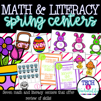 Spring Themed Math and Literacy Review Centers