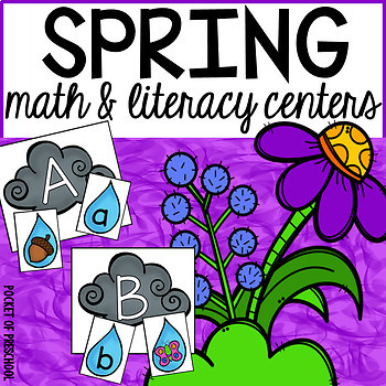 Spring Math and Literacy Centers for Preschool, Pre-K, and Kindergarten
