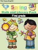 Spring Math and Literacy No Prep Printables First Grade