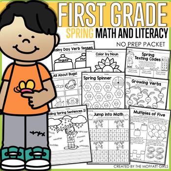 Spring Math and Literacy Packet NO PREP (1st Grade)